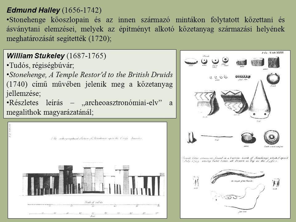 William Stukeley (1687-1765) Tudós, régiségbúvár; Stonehenge, A Temple Restor'd to the British Druids (1740) című művében jelenik meg a kőzetanyag jel
