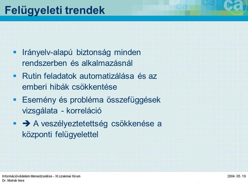 Felügyeleti trendek  Irányelv-alapú biztonság minden rendszerben és alkalmazásnál  Rutin feladatok automatizálása és az emberi hibák csökkentése  Esemény és probléma összefüggések vizsgálata - korreláció  A veszélyeztetettség csökkenése a központi felügyelettel
