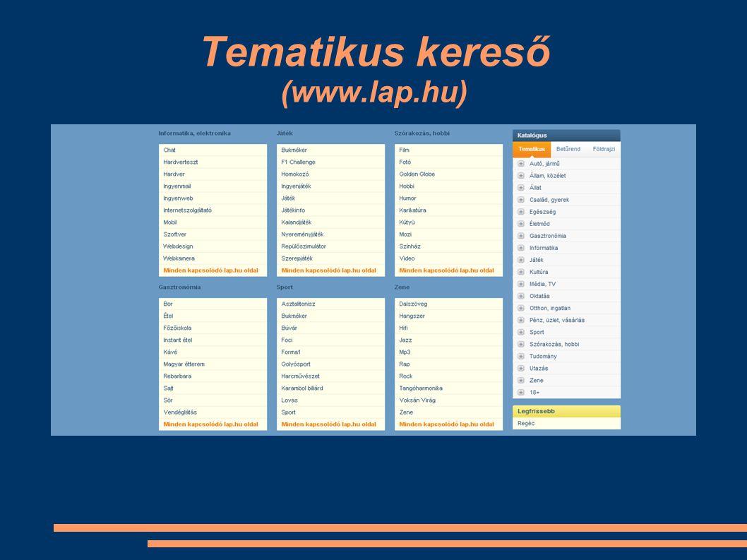 Tematikus kereső (www.lap.hu)