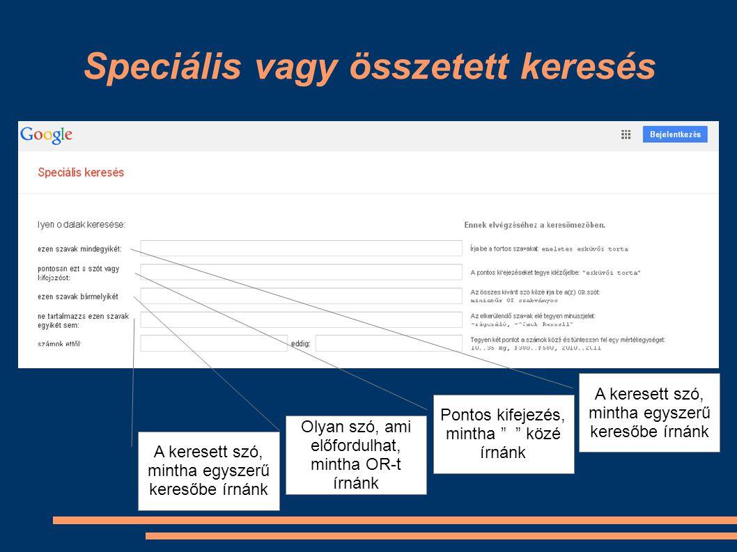 Speciális vagy összetett keresés Keresés adott webhelyen, mint a site: parancsnál Adott fájltípus keresése, mint a filetype: parancsnál Jogok szerinti keresés, pl.