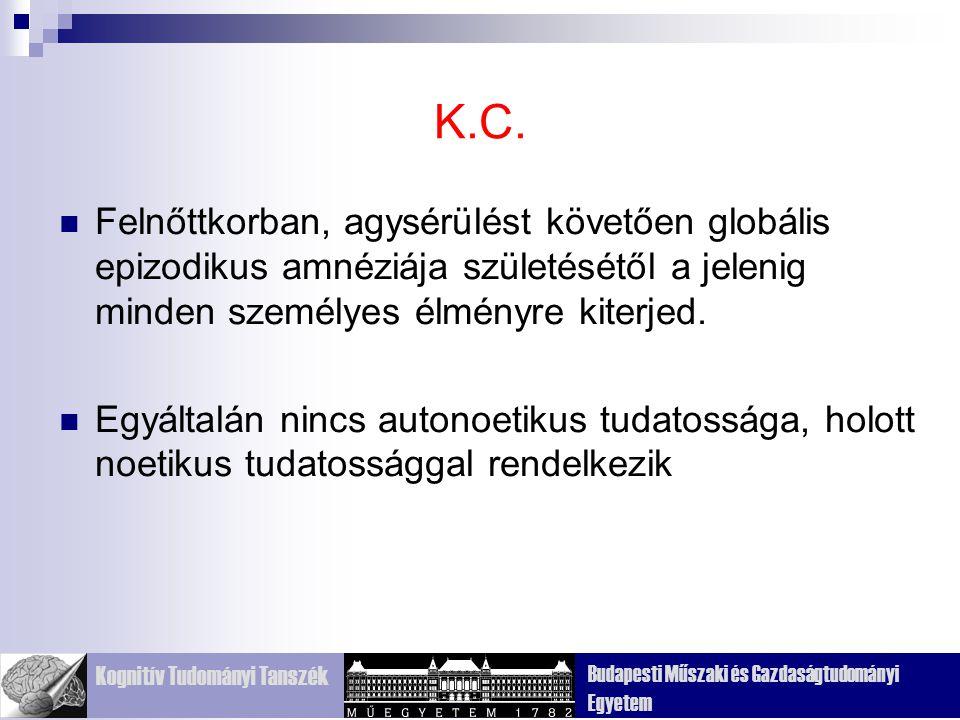 Kognitív Tudományi Tanszék Budapesti Műszaki és Gazdaságtudományi Egyetem K.C.