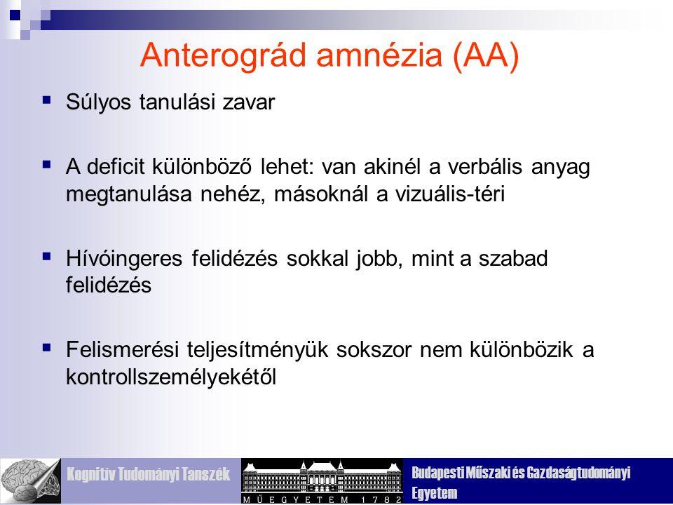 Kognitív Tudományi Tanszék Budapesti Műszaki és Gazdaságtudományi Egyetem Anterográd amnézia (AA)  Súlyos tanulási zavar  A deficit különböző lehet: van akinél a verbális anyag megtanulása nehéz, másoknál a vizuális-téri  Hívóingeres felidézés sokkal jobb, mint a szabad felidézés  Felismerési teljesítményük sokszor nem különbözik a kontrollszemélyekétől