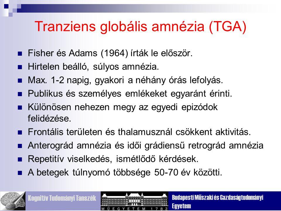 Kognitív Tudományi Tanszék Budapesti Műszaki és Gazdaságtudományi Egyetem Tranziens globális amnézia (TGA) Fisher és Adams (1964) írták le először.