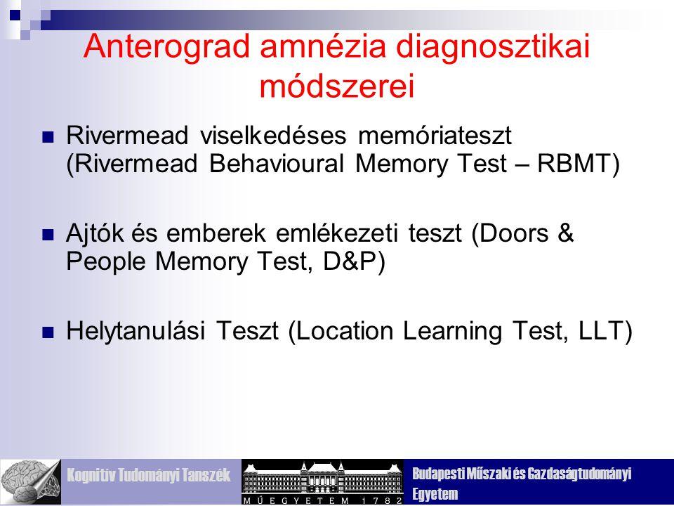 Kognitív Tudományi Tanszék Budapesti Műszaki és Gazdaságtudományi Egyetem Anterograd amnézia diagnosztikai módszerei Rivermead viselkedéses memóriateszt (Rivermead Behavioural Memory Test – RBMT) Ajtók és emberek emlékezeti teszt (Doors & People Memory Test, D&P) Helytanulási Teszt (Location Learning Test, LLT)