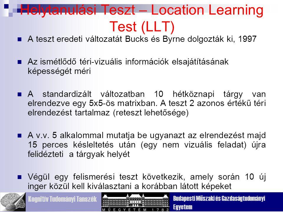Kognitív Tudományi Tanszék Budapesti Műszaki és Gazdaságtudományi Egyetem Helytanulási Teszt – Location Learning Test (LLT) A teszt eredeti változatát Bucks és Byrne dolgozták ki, 1997 Az ismétlődő téri-vizuális információk elsajátításának képességét méri A standardizált változatban 10 hétköznapi tárgy van elrendezve egy 5x5-ös matrixban.