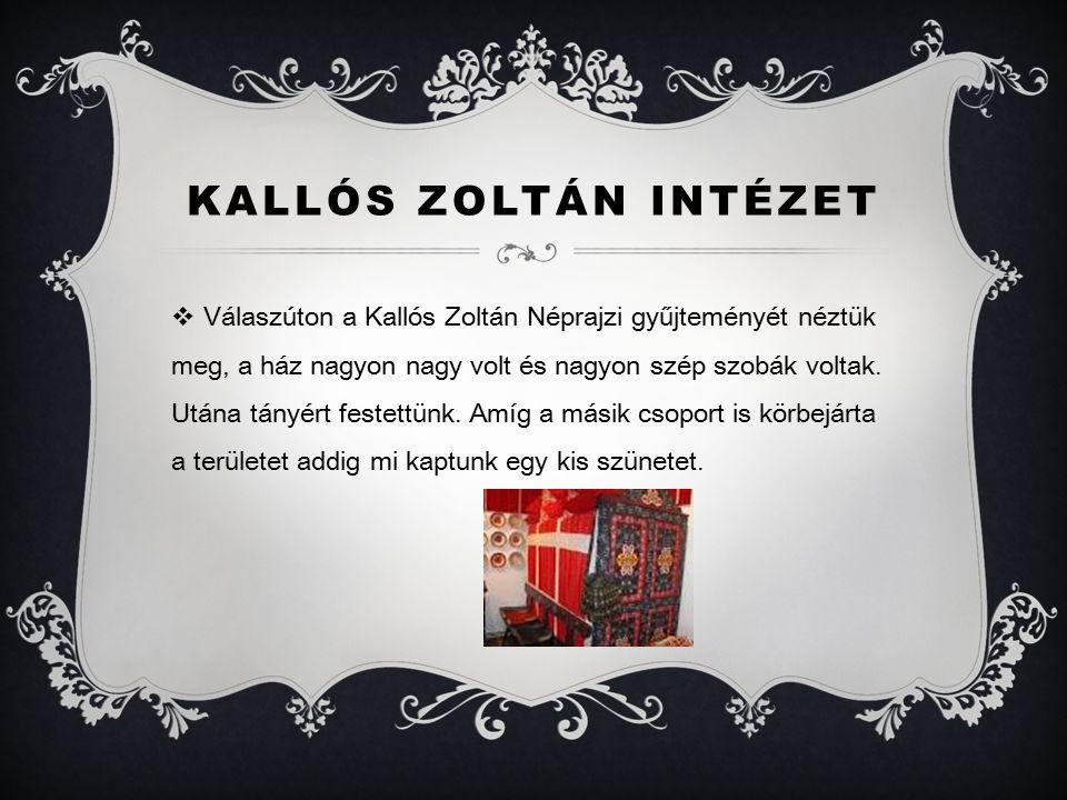 KALLÓS ZOLTÁN INTÉZET  Válaszúton a Kallós Zoltán Néprajzi gyűjteményét néztük meg, a ház nagyon nagy volt és nagyon szép szobák voltak.