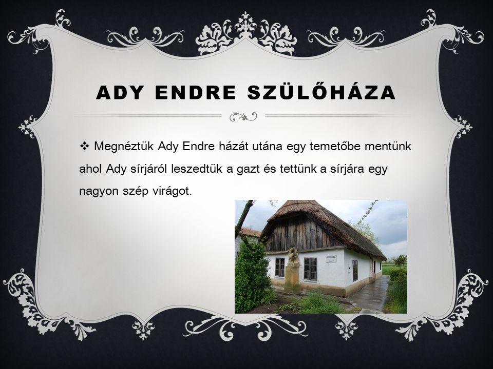ADY ENDRE SZÜLŐHÁZA  Megnéztük Ady Endre házát utána egy temetőbe mentünk ahol Ady sírjáról leszedtük a gazt és tettünk a sírjára egy nagyon szép virágot.