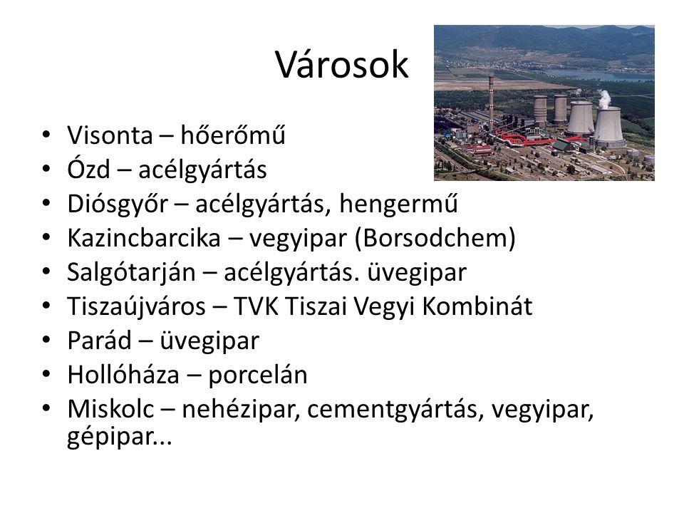 Városok Visonta – hőerőmű Ózd – acélgyártás Diósgyőr – acélgyártás, hengermű Kazincbarcika – vegyipar (Borsodchem) Salgótarján – acélgyártás. üvegipar