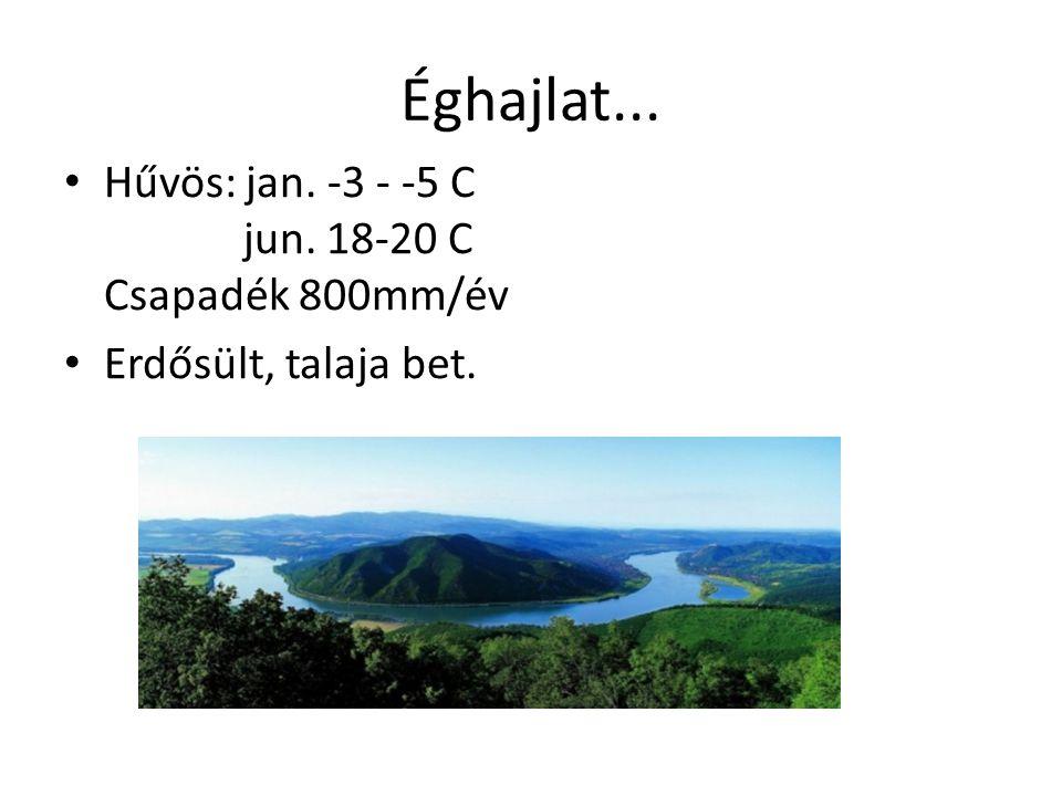 Éghajlat... Hűvös: jan. -3 - -5 C jun. 18-20 C Csapadék 800mm/év Erdősült, talaja bet.