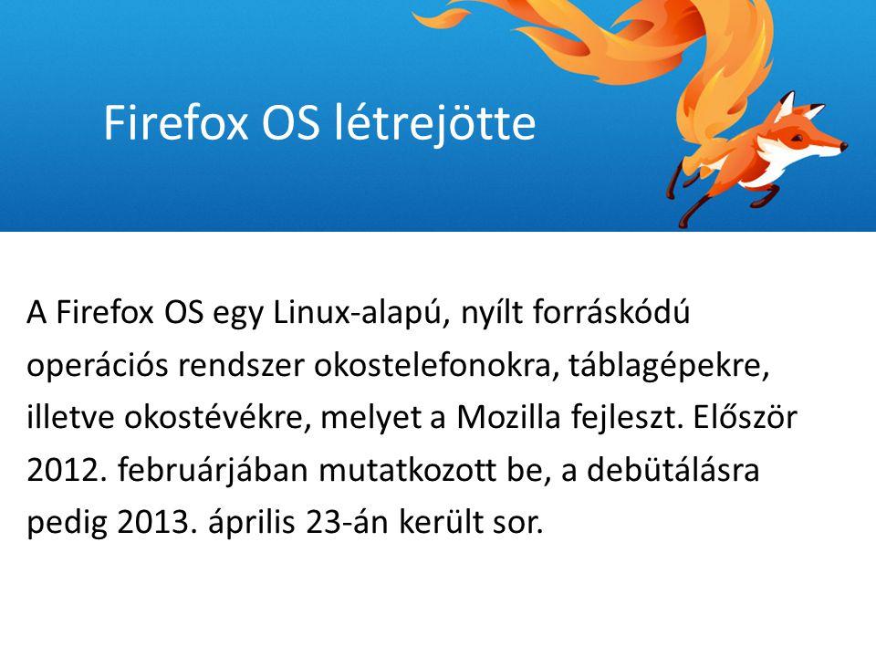 A rendszer három részből áll: 1.Gonk (kernel) 2.Gecko (motor) 3.Gaia (grafikus felület) Firefox OS tulajdonságok