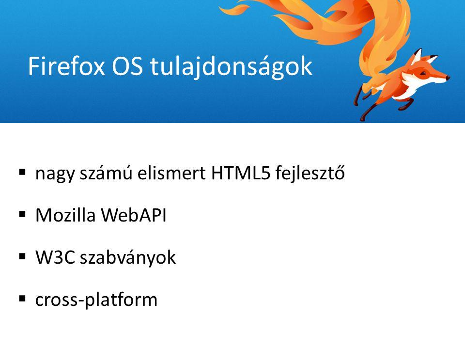  nagy számú elismert HTML5 fejlesztő  Mozilla WebAPI  W3C szabványok  cross-platform Firefox OS tulajdonságok