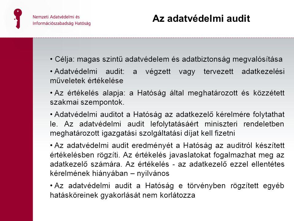 Célja: magas szintű adatvédelem és adatbiztonság megvalósítása Adatvédelmi audit: a végzett vagy tervezett adatkezelési műveletek értékelése Az értékelés alapja: a Hatóság által meghatározott és közzétett szakmai szempontok.