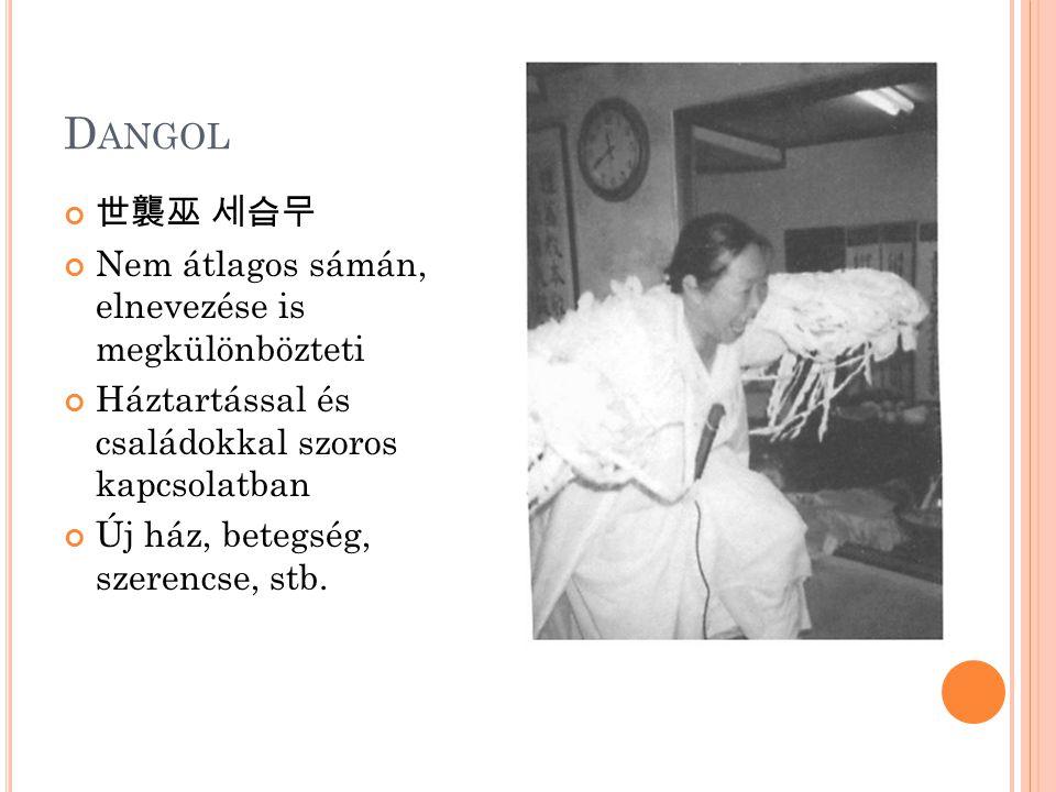 D ANGOL 世襲巫 세습무 Nem átlagos sámán, elnevezése is megkülönbözteti Háztartással és családokkal szoros kapcsolatban Új ház, betegség, szerencse, stb.