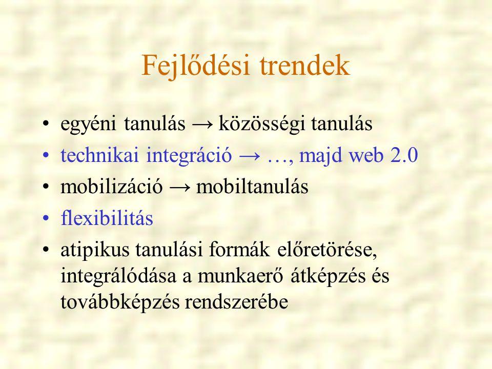 Fejlődési trendek egyéni tanulás → közösségi tanulás technikai integráció → …, majd web 2.0 mobilizáció → mobiltanulás flexibilitás atipikus tanulási