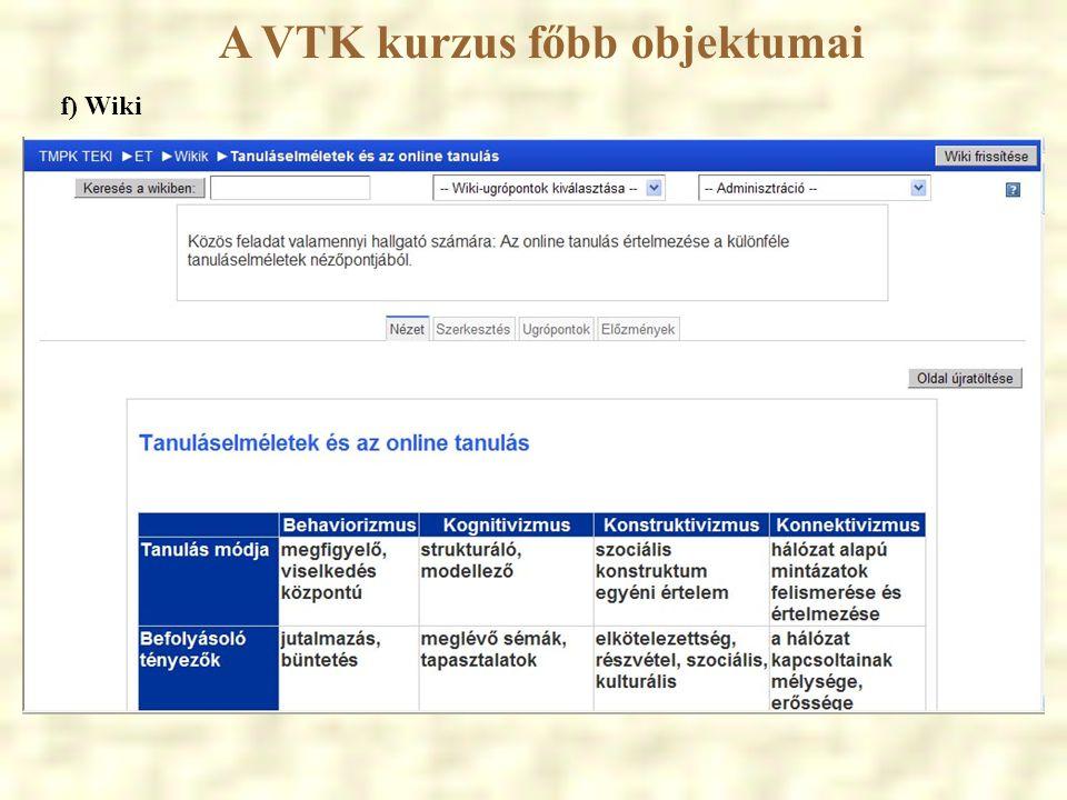 A VTK kurzus főbb objektumai f) Wiki