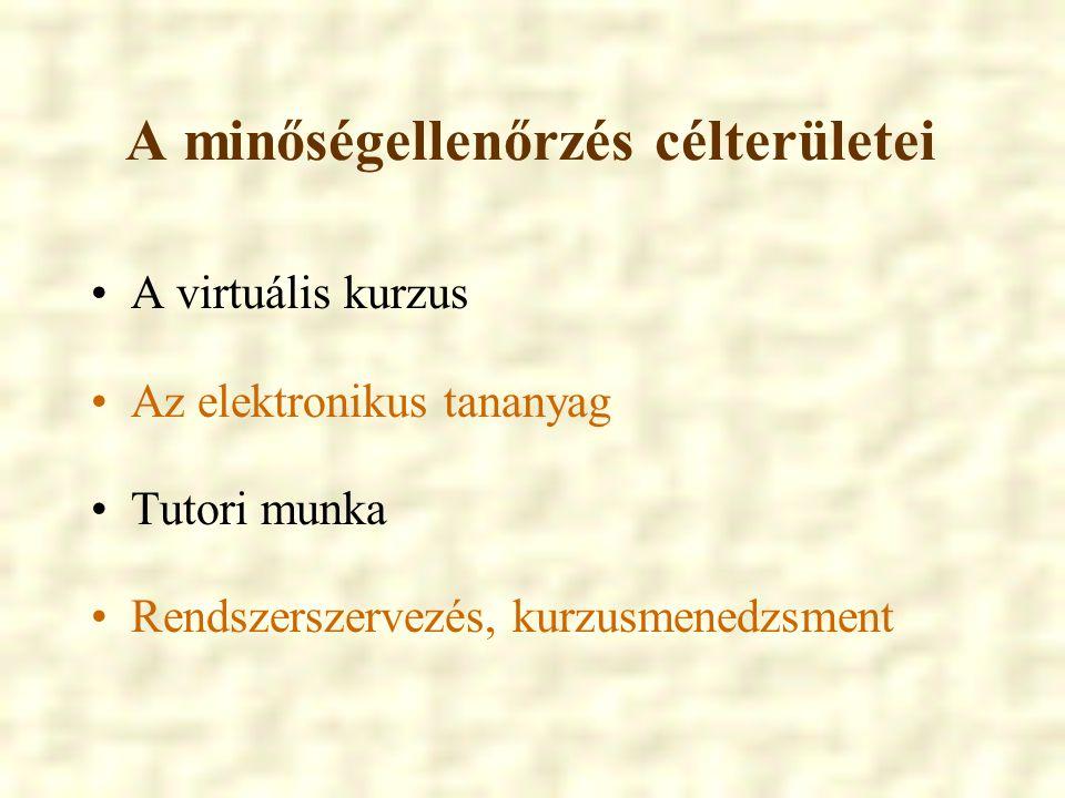 A minőségellenőrzés célterületei A virtuális kurzus Az elektronikus tananyag Tutori munka Rendszerszervezés, kurzusmenedzsment