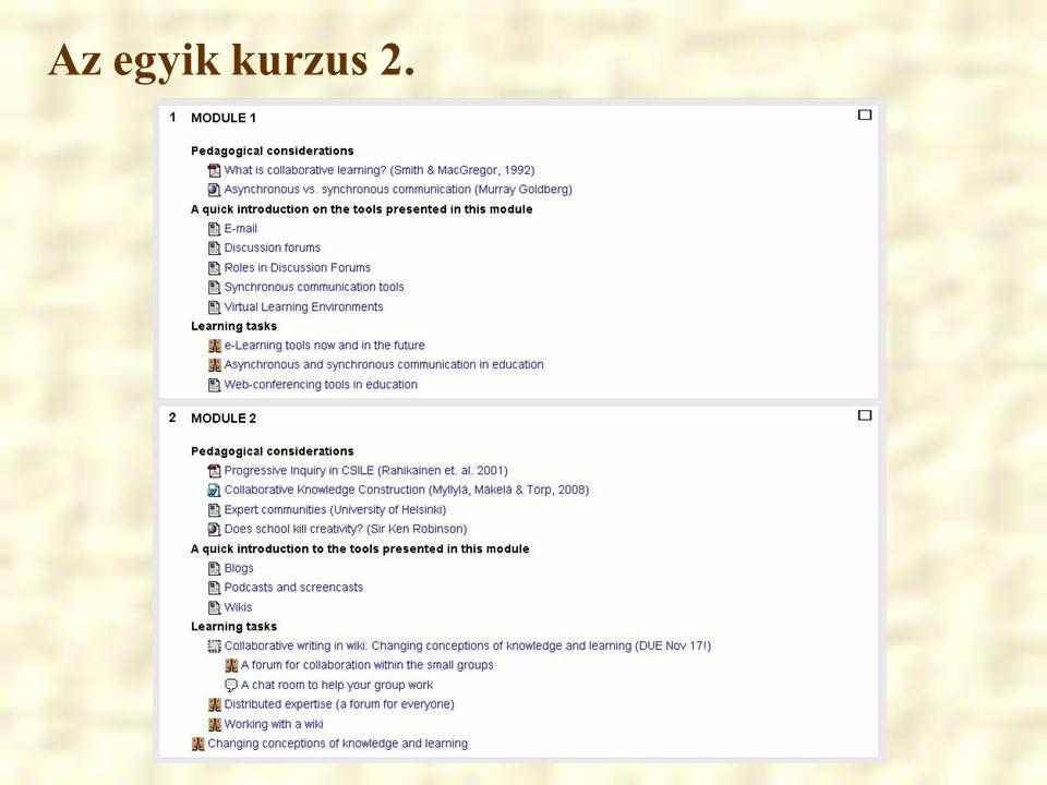 A VTK kurzus főbb objektumai c) Feladatbeadás