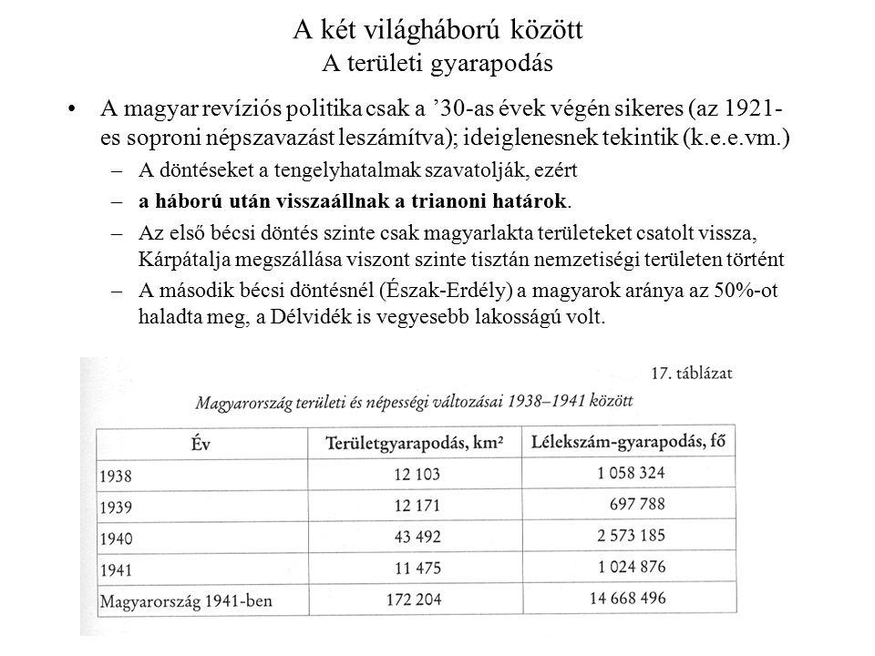 A két világháború között A területi gyarapodás A magyar revíziós politika csak a '30-as évek végén sikeres (az 1921- es soproni népszavazást leszámítva); ideiglenesnek tekintik (k.e.e.vm.) –A döntéseket a tengelyhatalmak szavatolják, ezért –a háború után visszaállnak a trianoni határok.