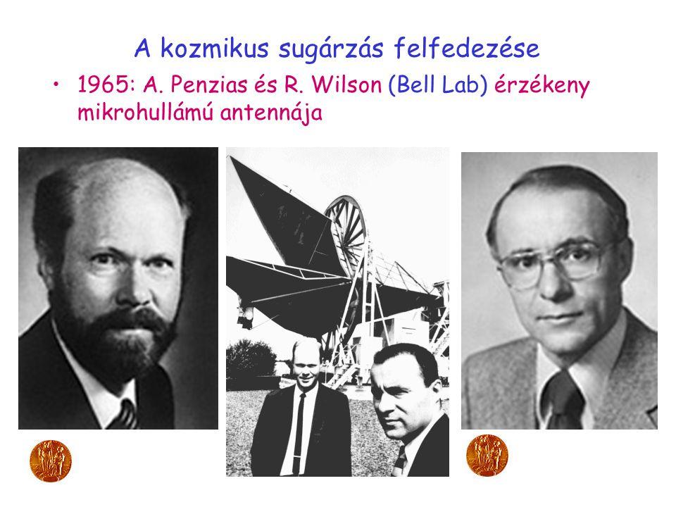 A kozmikus sugárzás felfedezése 1965: A. Penzias és R. Wilson (Bell Lab) érzékeny mikrohullámú antennája