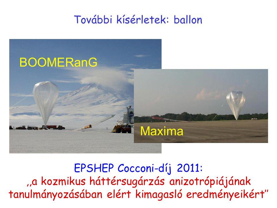 További kísérletek: ballon Maxima BOOMERanG EPSHEP Cocconi-díj 2011:,,a kozmikus háttérsugárzás anizotrópiájának tanulmányozásában elért kimagasló ere