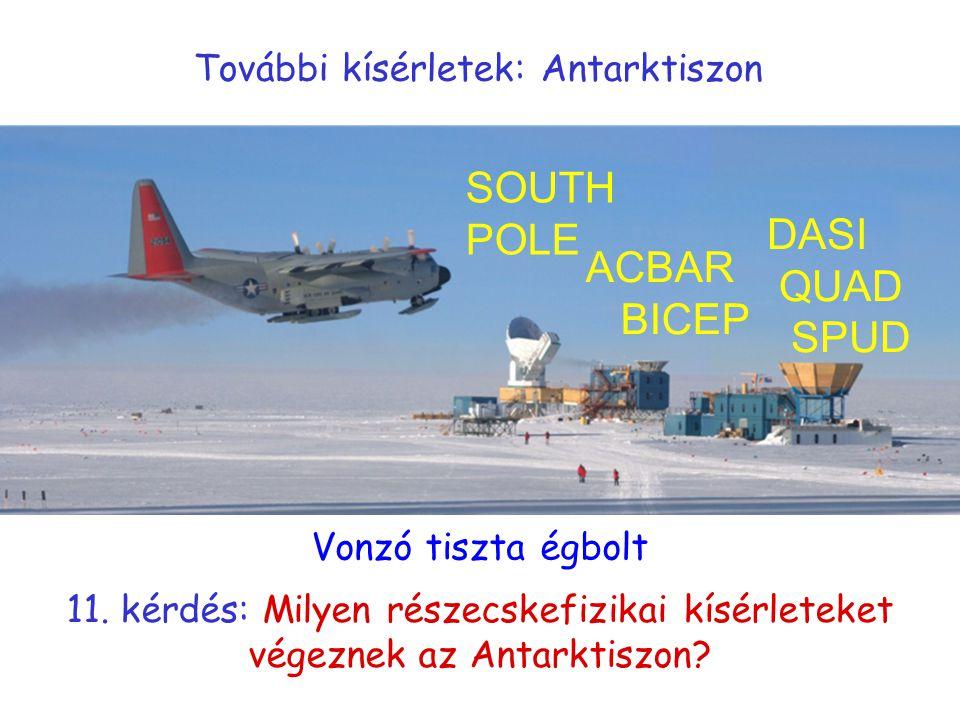 További kísérletek: Antarktiszon DASI QUAD SPUD ACBAR BICEP SOUTH POLE Vonzó tiszta égbolt 11. kérdés: Milyen részecskefizikai kísérleteket végeznek a