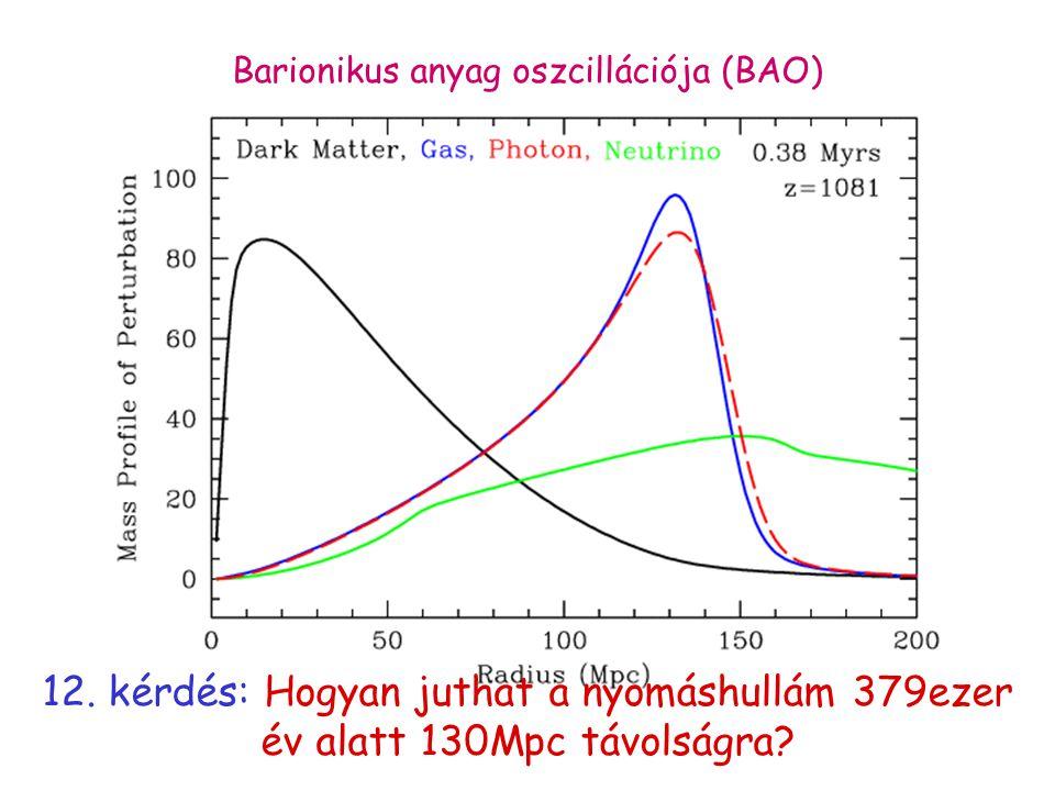 12. kérdés: Hogyan juthat a nyomáshullám 379ezer év alatt 130Mpc távolságra? Barionikus anyag oszcillációja (BAO)