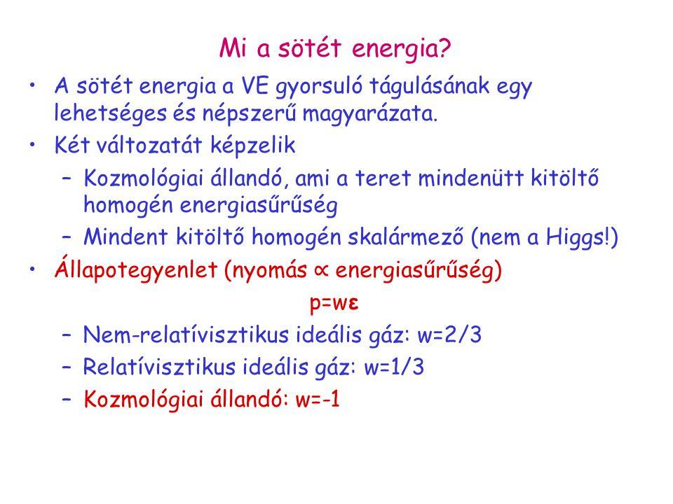 Mi a sötét energia? A sötét energia a VE gyorsuló tágulásának egy lehetséges és népszerű magyarázata. Két változatát képzelik –Kozmológiai állandó, am