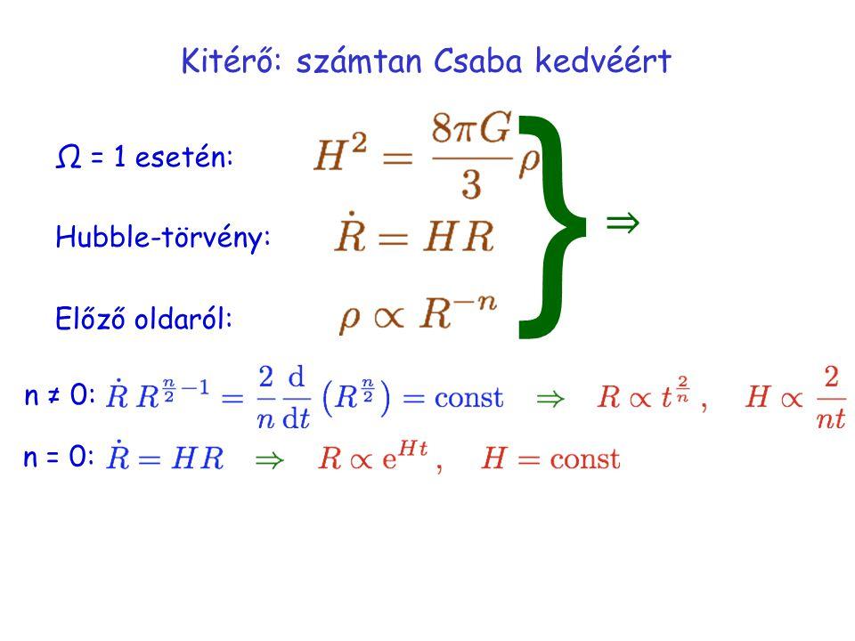 Kitérő: számtan Csaba kedvéért Ω = 1 esetén: Hubble-törvény: Előző oldaról: } ⇒ n ≠ 0: n = 0: