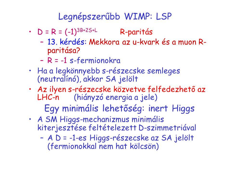 Legnépszerűbb WIMP: LSP D = R = (-1) 3B+2S+L R-paritás –13. kérdés: Mekkora az u-kvark és a muon R- paritása? –R = -1 s-fermionokra Ha a legkönnyebb s