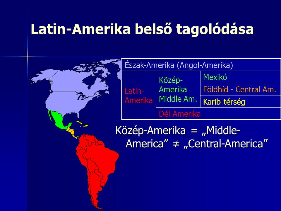 Latin-Amerika belső tagolódása Észak-Amerika (Angol-Amerika) Latin- Amerika Közép- Amerika Middle Am.