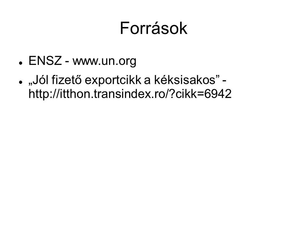 """Források ENSZ - www.un.org """"Jól fizető exportcikk a kéksisakos - http://itthon.transindex.ro/ cikk=6942"""