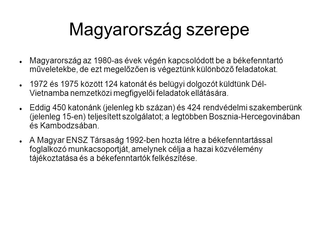 Magyarország szerepe Magyarország az 1980-as évek végén kapcsolódott be a békefenntartó műveletekbe, de ezt megelőzően is végeztünk különböző feladatokat.