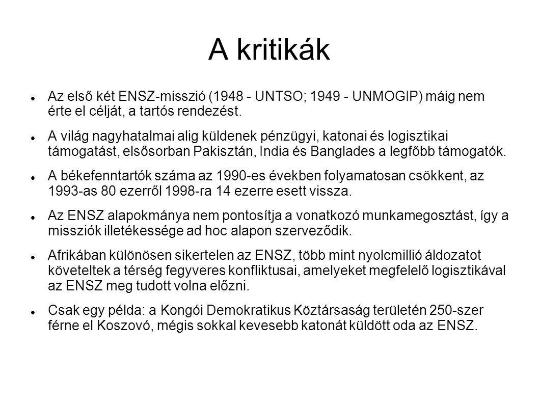 A kritikák Az első két ENSZ-misszió (1948 - UNTSO; 1949 - UNMOGIP) máig nem érte el célját, a tartós rendezést. A világ nagyhatalmai alig küldenek pén