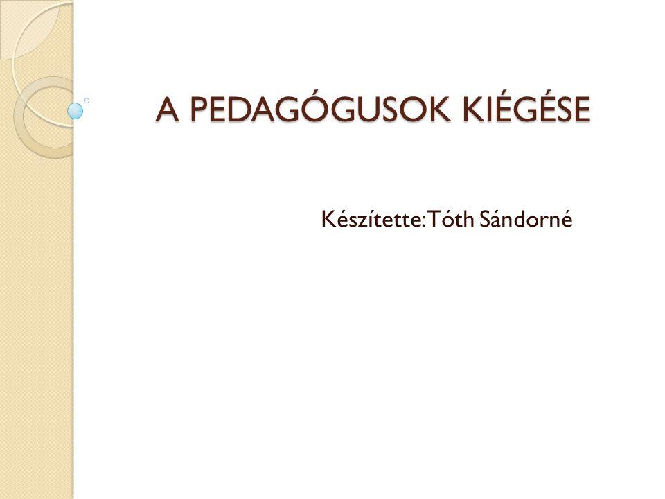 A PEDAGÓGUSOK KIÉGÉSE Készítette:Tóth Sándorné