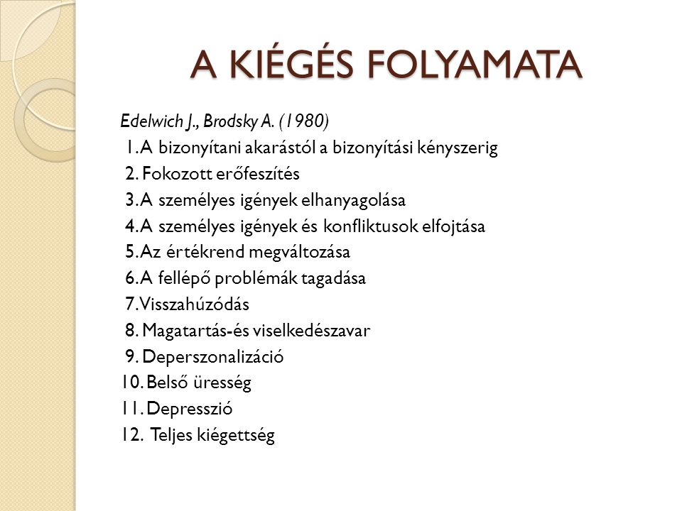 A KIÉGÉS FOLYAMATA Edelwich J., Brodsky A.(1980) 1.