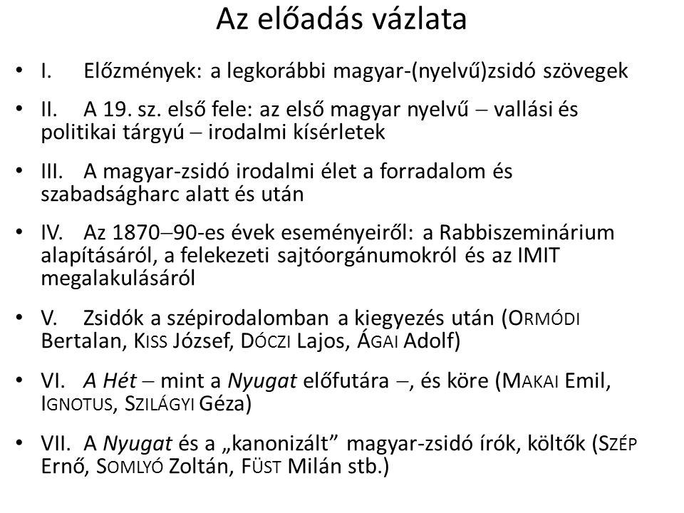 Az előadás vázlata I. Előzmények: a legkorábbi magyar-(nyelvű)zsidó szövegek II.
