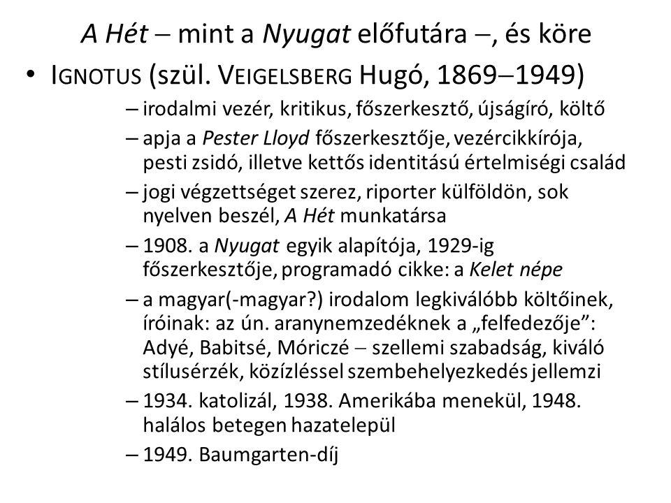 A Hét  mint a Nyugat előfutára , és köre I GNOTUS (szül.