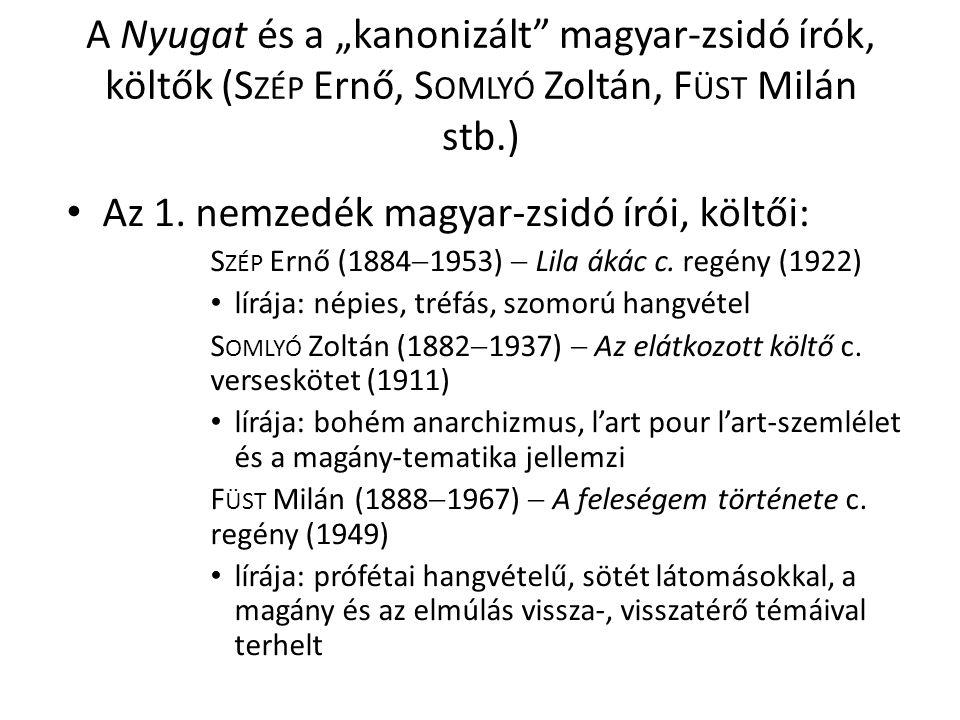 """A Nyugat és a """"kanonizált magyar-zsidó írók, költők (S ZÉP Ernő, S OMLYÓ Zoltán, F ÜST Milán stb.) Az 1."""
