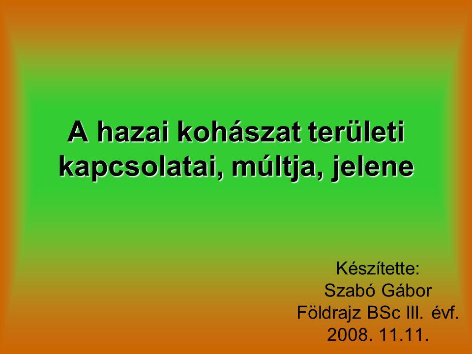 A hazai kohászat területi kapcsolatai, múltja, jelene Készítette: Szabó Gábor Földrajz BSc III. évf. 2008. 11.11.