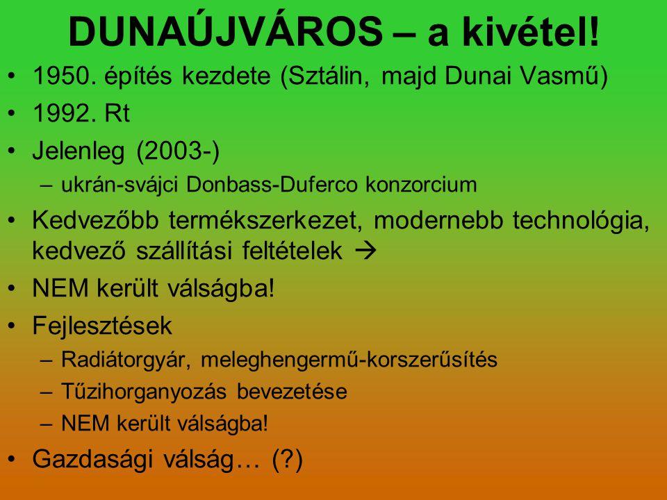 DUNAÚJVÁROS – a kivétel! 1950. építés kezdete (Sztálin, majd Dunai Vasmű) 1992. Rt Jelenleg (2003-) –ukrán-svájci Donbass-Duferco konzorcium Kedvezőbb