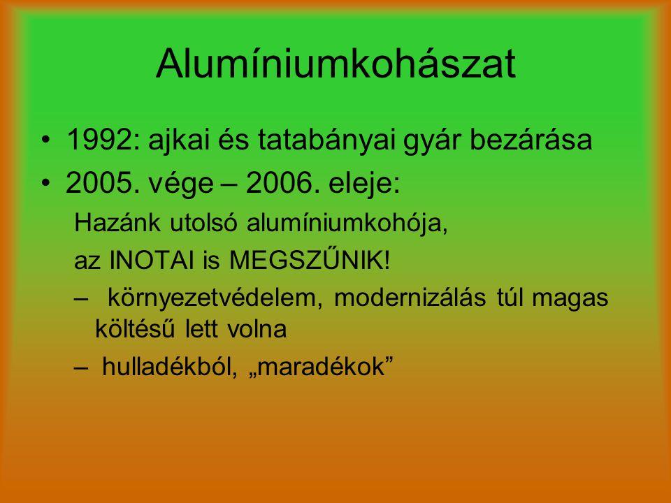 Alumíniumkohászat 1992: ajkai és tatabányai gyár bezárása 2005. vége – 2006. eleje: Hazánk utolsó alumíniumkohója, az INOTAI is MEGSZŰNIK! –környezetv