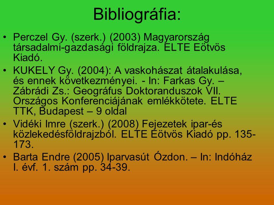 Bibliográfia: Perczel Gy. (szerk.) (2003) Magyarország társadalmi-gazdasági földrajza. ELTE Eötvös Kiadó. KUKELY Gy. (2004): A vaskohászat átalakulása