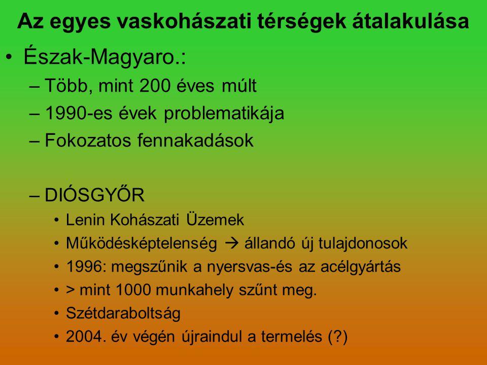 Az egyes vaskohászati térségek átalakulása Észak-Magyaro.: –Több, mint 200 éves múlt –1990-es évek problematikája –Fokozatos fennakadások –DIÓSGYŐR Le