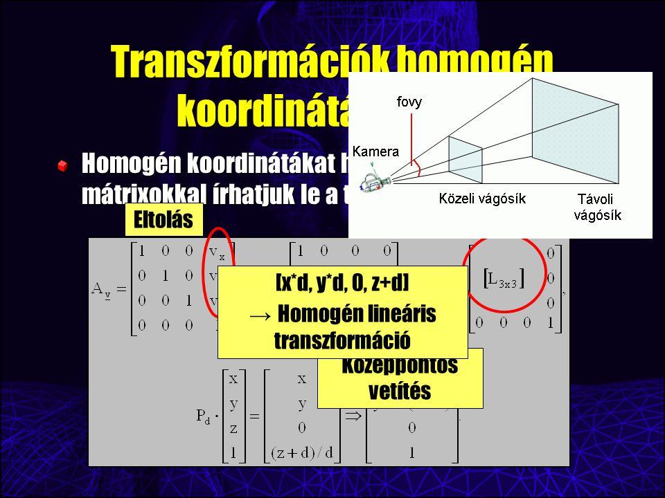 Transzformációk homogén koordinátás alakja Homogén koordinátákat használva 4x4-es mátrixokkal írhatjuk le a transzformációkat.
