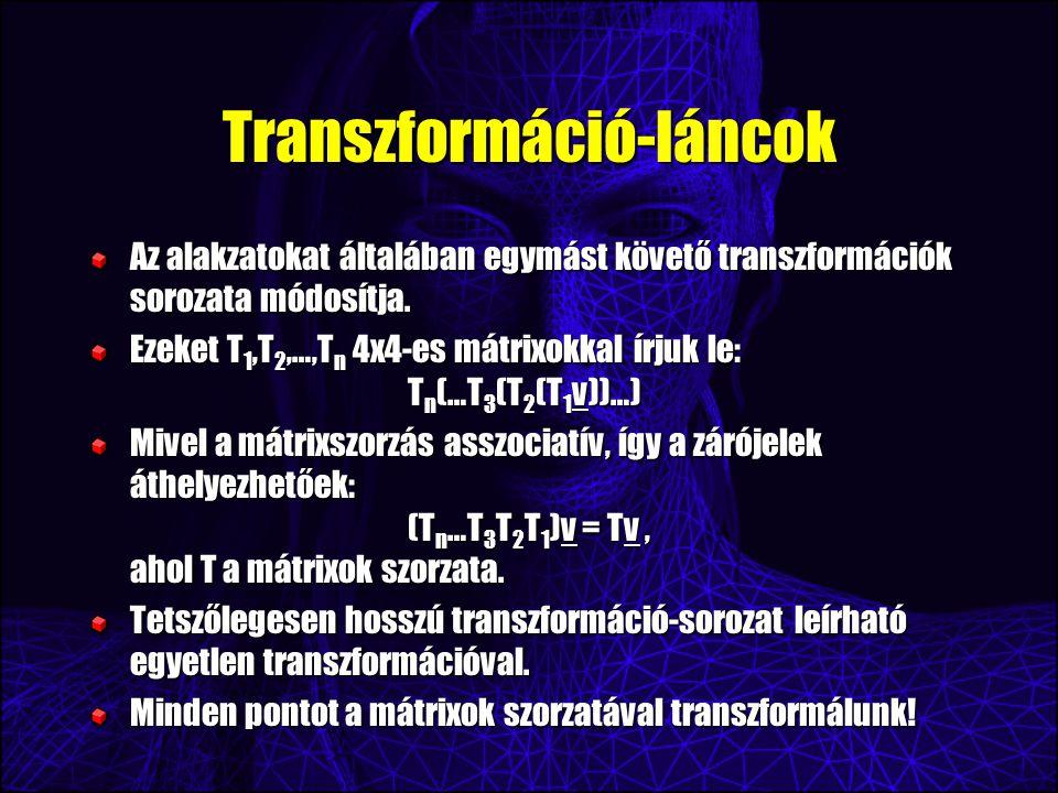 Transzformáció-láncok Az alakzatokat általában egymást követő transzformációk sorozata módosítja.