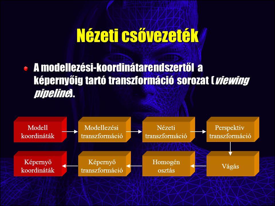 Nézeti csővezeték A modellezési-koordinátarendszertől a képernyőig tartó transzformáció sorozat (viewing pipeline).