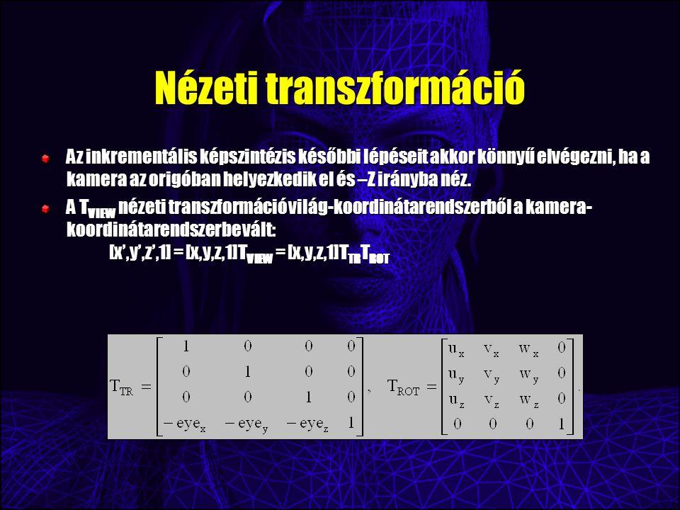 Nézeti transzformáció Az inkrementális képszintézis későbbi lépéseit akkor könnyű elvégezni, ha a kamera az origóban helyezkedik el és –Z irányba néz.