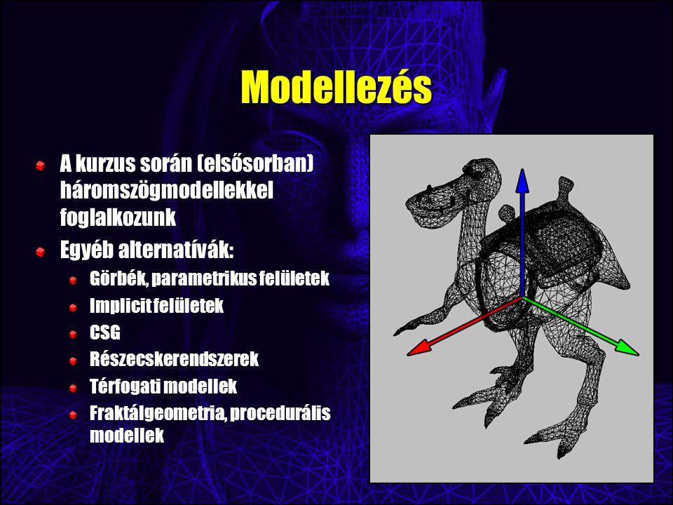 Modellezés A kurzus során (elsősorban) háromszögmodellekkel foglalkozunk Egyéb alternatívák: Görbék, parametrikus felületek Implicit felületek CSG Részecskerendszerek Térfogati modellek Fraktálgeometria, procedurális modellek
