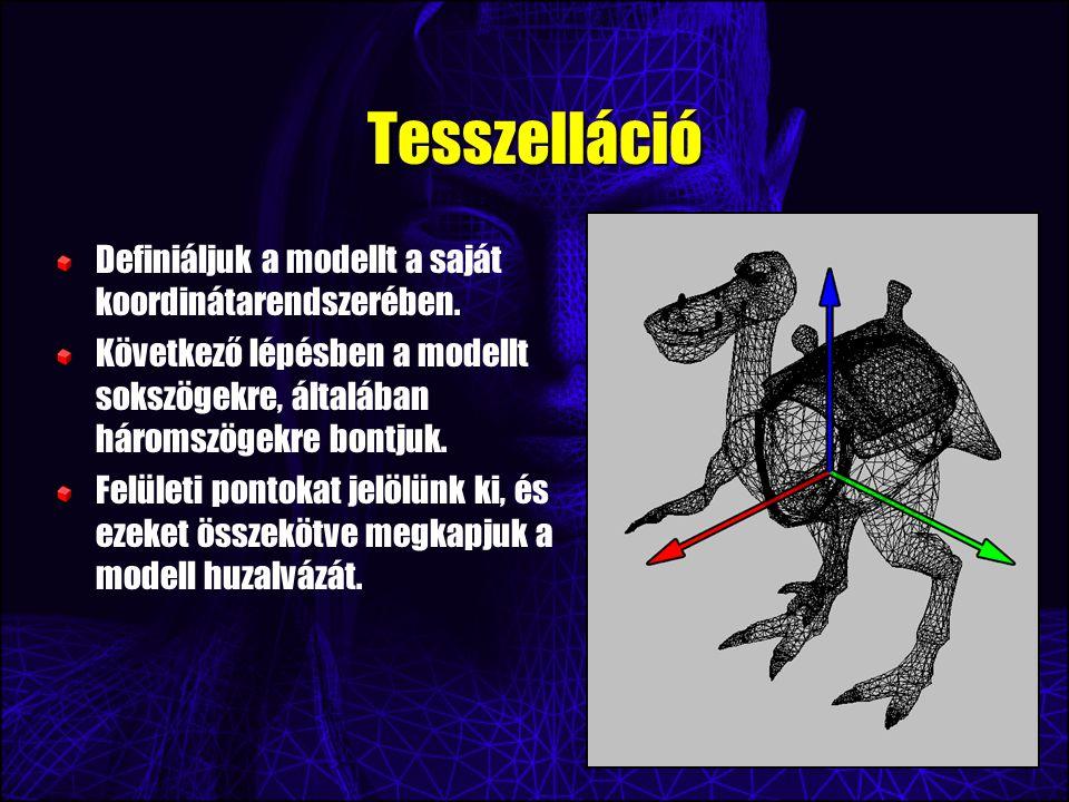 Tesszelláció Definiáljuk a modellt a saját koordinátarendszerében.