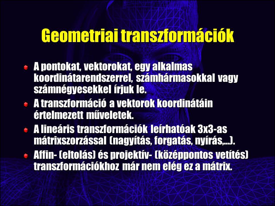 Geometriai transzformációk A pontokat, vektorokat, egy alkalmas koordinátarendszerrel, számhármasokkal vagy számnégyesekkel írjuk le.